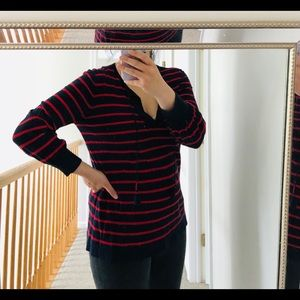 LOFT navy and red stripe top